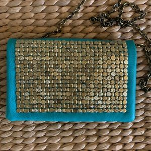 Anthropologie Turquoise Clutch w/ Detachable Chain